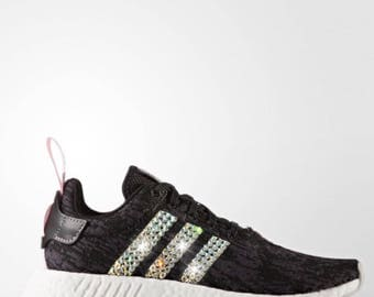 timeless design f2111 fcd8a ... NEW Bling Adidas NMD with Swarovski Crystals - Black and Pink - Women s  Originals NMD R2 Runner ...