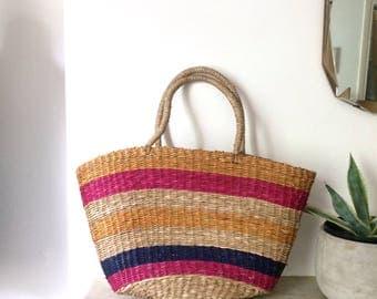 Vintage striped straw market bag / simple pink striped natural basket shopper bag