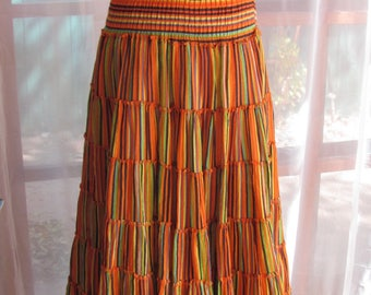 Smocked Waisted Multicolor Cotton Pleated Tiered Skirt