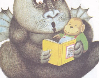 Jumbo Kids Sticker Monster Reading to a Monkey Decal Handmade Animals