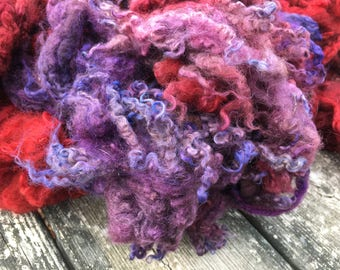 Hand dyed border leicester locks and fleece for hand spinning into unique yarn or felting