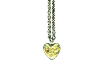 Heart necklace, silver and 18ct gold