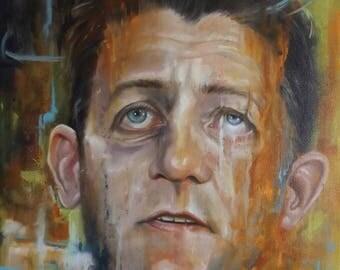 "Paul Ryan Oil on Canvas Original Political Art 16"" x 20"" #Resist"