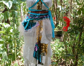 Dress, white dress, Burning man, sequins, GOT inspired, water faerie, gold, ruffles, dance noire fusion, urban warrior, epaulettes, size m