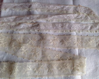 Antique Lace Trims /Vintage Cream & Pale Pink Blush Laces 2pc / Ballet Dolls Home Furnishings Vintage Sewing NOS