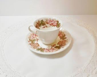 Wedgewood Wildbriar Pattern Tea Cup and Saucer - Vintage Pattern - Demitasse Size