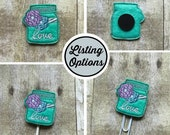 Green Mason Jar with Flowers Feltie/Stitchie, Magnet, Personal Planner Clip/Bookmark, Page Marker, Cupcake Topper