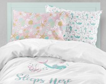 Twin Bedding Girl Mermaid, Toddler Bedding Girl, Twin or Toddler Ocean Comforter, Mermaid Twin Sheet Set, Toddler Sheet, Sheet & Pillowcase