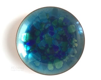Win Ng Jeweled Kaleidoscope Blue Green Enamel Small Dish San Francisco