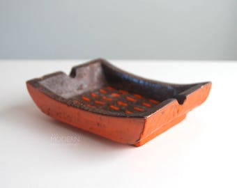 Bitossi Italy Mid Century Modern Brown Orange Rectangular Ashtray Dish