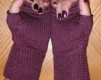 Merino wool and silk fingerless gloves, wrist warmers