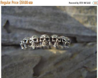 ON SALE Skull band handmade in sterling silver