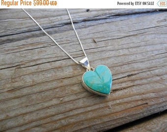 ON SALE Turquoise heart necklace handmade in sterling silver 925 with a heart shape turquoise stone