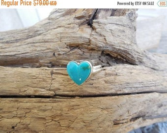 ON SALE Heart shape turquoise ring handmade in sterling silver 925