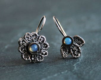 Dainty asymmetrical sterling silver lace earrings - with natural opal cabochons