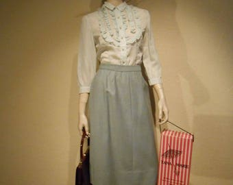 You Can't Ruffle My Feathers - Vintage 1950s Baby Blue Sheer Ruffle Bib Blouse - Small