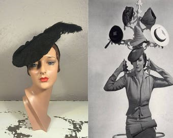 It's All About My Attitude - Vintage 1930s Black Straw Flat Beret w/Large Ostrich Feather Hat
