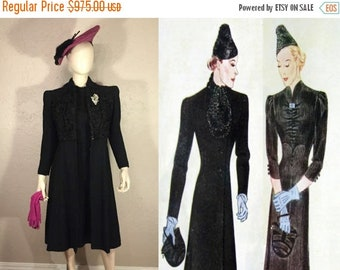 Anniversary Sale 35% Off Fashion Preparation for War - Vintage Late 1930s Black Textured Rayon Dress & Matching Persian Wool Collar Princess