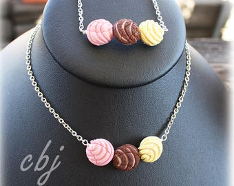 Concha Necklace, Concha Bracelet, Pan Dulce Necklace and Bracelet Set, Handmade out of Polymer Clay