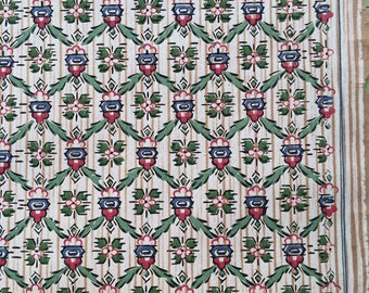 Vintage Wallpaper -  Dollhouse Early 1900s  Cranberry Red and Blue Flowers, Tan and Cream Striped Background - 1 yard
