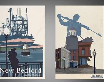 Set of 2 New Bedford, Massachusetts Retro Travel Posters