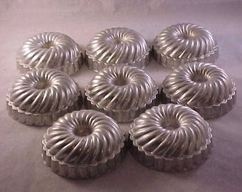 8 Tin Jello Molds or Small Cake Molds