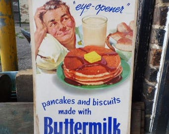 "Vintage advertisement breakfast ""Eye-opener Pancakes Biscuits Buttermilk"" Retro art advertising litho kitchen"