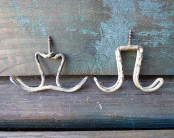 Two vintage ceiling hooks Wire hangers horse tack coat rack plant cup holder  industrial hardware Rustic salvage Screw Hook