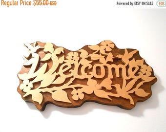 ON SALE Vintage Wooden Carved Welcome Sign with Hummingbird Floral Design