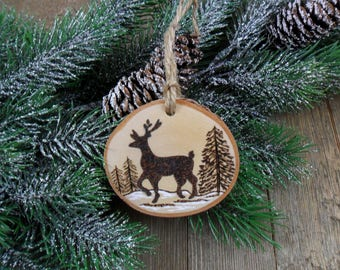Wood Burned Deer Birch Slice Christmas Ornament Hand Burned Painted