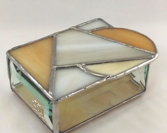 Amber, Tan and Iridescent Wheat Hand Crafted Stained Glass Jewelry Trinket Box
