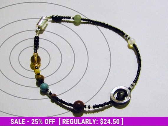 June SALE! MiniVerse - Solar System Anklet - Proportional Distances in Glass and Stone - SMALL ANKLET 9.5 inches - Planets - Astronomy -