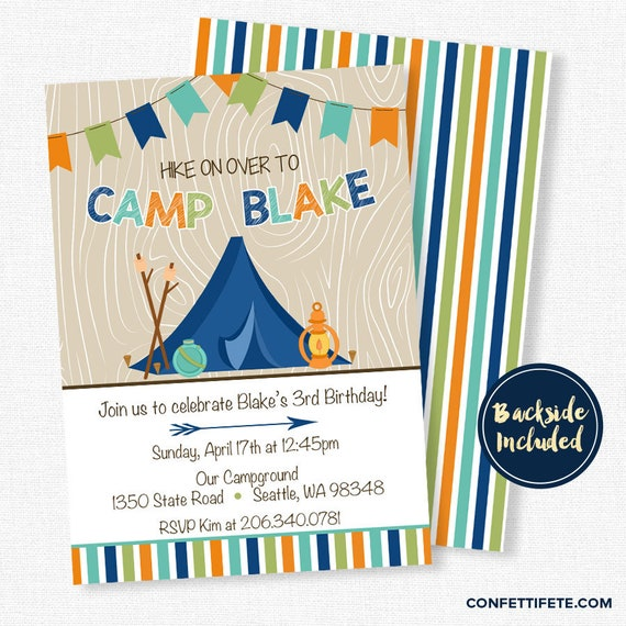 camping birthday invitation boy birthday invitation nature party