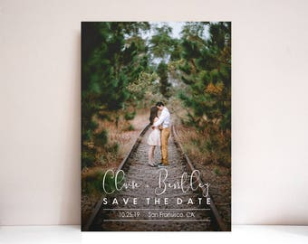 Save the Date, Photo Save the Date, Wedding, Save the date Card, Save the Dates, Modern Save the Date card: PRINTABLE (Claire and Bentley)