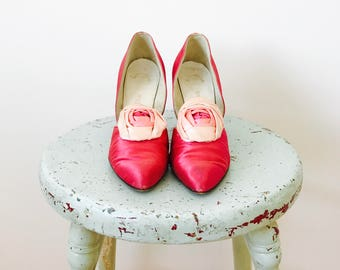 Vintage Christian Dior Satin Pumps/High Heels/Raspberry Pink/Ombré ribbon roses