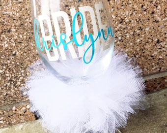 Custom Bride Wine Glass Personalized Name Bridal Wedding Shower Bachelorette Bridesmaid Groom Groomsman Marriage Wine Glass