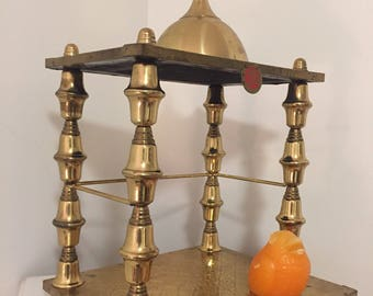 """Vintage BRASS ALTAR, RELIGIOUS Altar, Two Tiered, Asian, 17"""" X 13"""" X 15"""", Buddhist, Meditation, Yoga, Hinduism, Peaceful  at Modern Logic"""