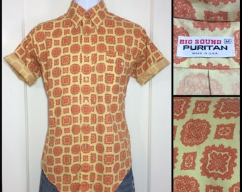 1960's yellow orange patterned button down collar short sleeve cotton shirt size medium beach beatnik mod Ivy League Puritan brand
