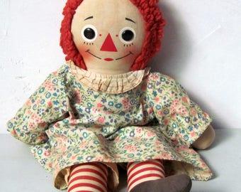 Vintage knickerbocker wind up musical Raggedy Ann Doll