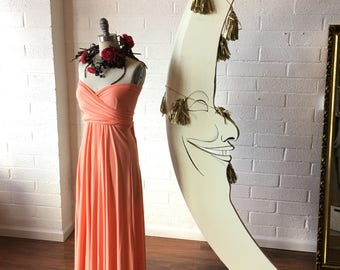 "Ready Made- Standard, 46"" long- Coral Reef~ Last of Fabric- Maxi Octopus Convertible Infinity Wrap Dress~ Bridesmaids, Maternity"
