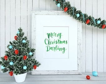 Hand Lettered Christmas Print 8x10 // Merry Christmas Darling // Digital Download // Watercolor Lettering
