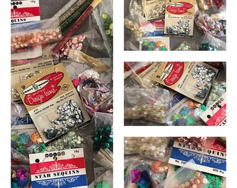 Sequins Lot - Vintage Sequins 1950s- Spangles - Christmas Trees - Stars - Walco - Starbursts- Tiny Beads Lot -