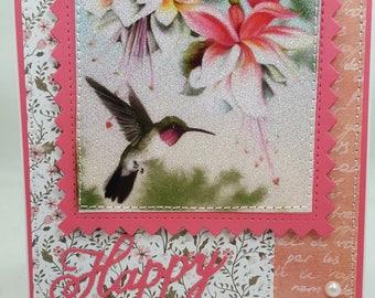 Summertime Happy Birthday Hummingbird Blank NoteCard, Greetings Card, Handmade Card