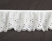 Ruffled eyelet white sewing fabric trim 4inch for couture, baby, doll clothes and accessories 24 yards