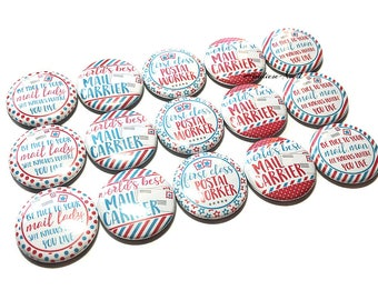 "Mail Carrier, 1"" Button,  Mailman Gift, Mail Lady Gift, Mail Carrier Gift, Mailman Pin, Mailman Flatback, Mailman Pinback, Mailman Decor"
