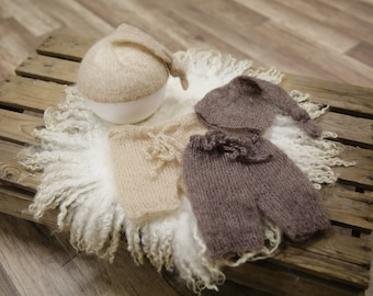 SET Toffee Brown and Beige Mohair Knot Hat and Shorts Sets Newborn Baby Photography Prop