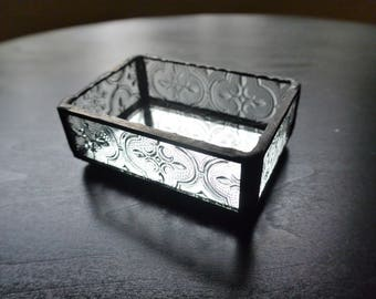Jewelry Box in Clear Textured Glass