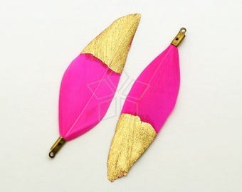 FT-040-HP / 2 pcs - Duck Feather Pendant, Handmade Hot Pink Dyed Feather Half Dipped in Gold, Natural Bohemian Plume Pendant / 50mm