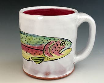 Rainbow Trout Mug, Handmade White Pottery with Fish, Wheel Thrown, Handpainted Coffee Mug, Fish Art, Colorful, For the Fisherman, Fish Mug.