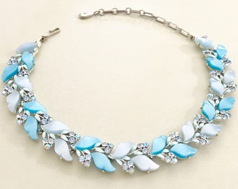 Lisner Necklace, Rhinestone Choker, Blue Necklace, Vintage Jewelry, 60s Choker, Elegant Blue Choker Thermoset Lucite Leaves Special Occasion